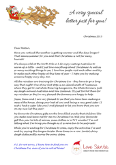 a sample of a personalised Love Santa letter to delight an Australian child