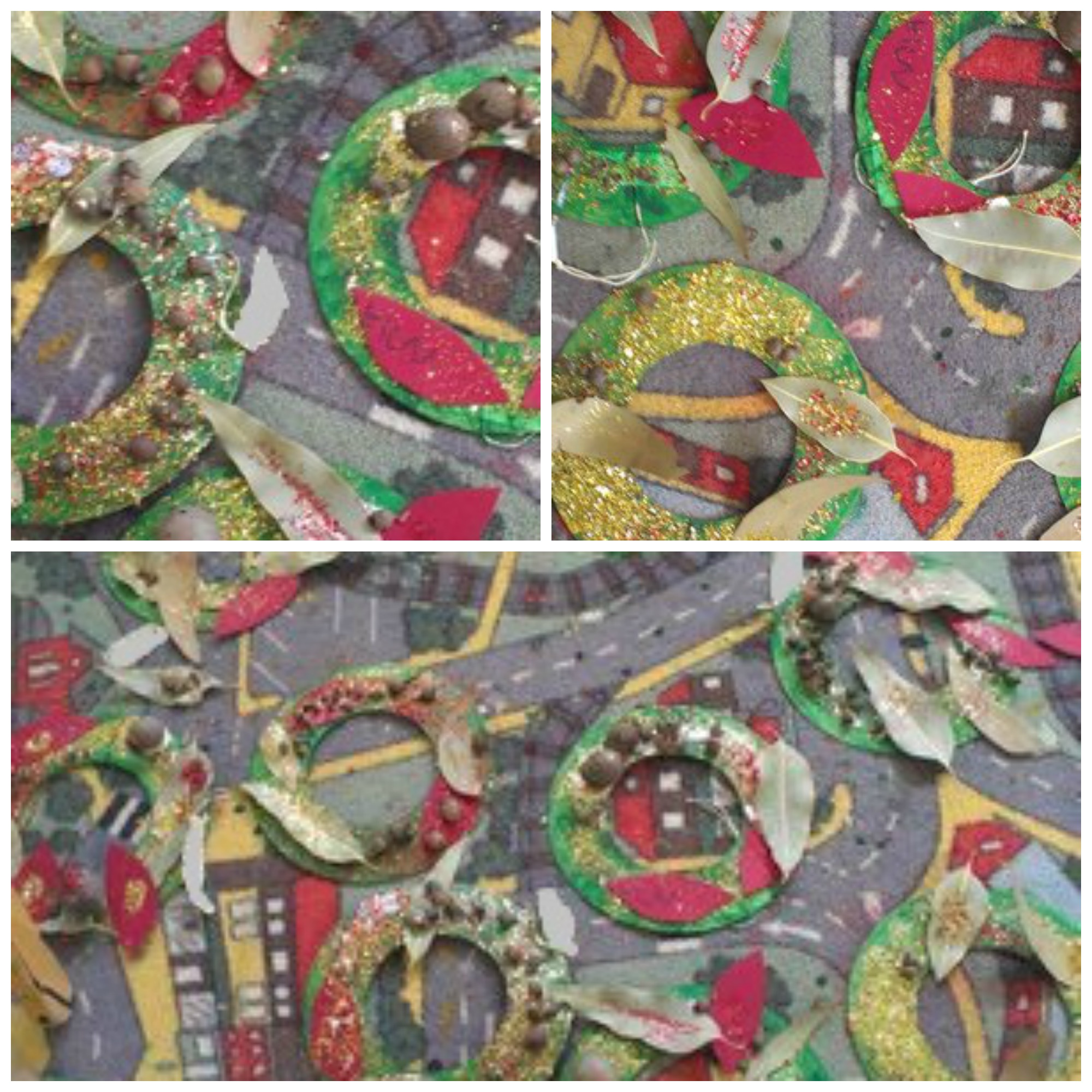gumnut wreaths drying - kids Christmas craft