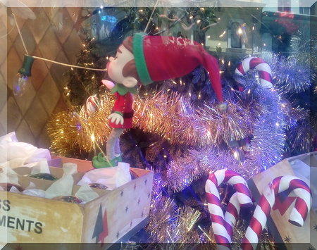 Myer's elf with the Christmas tree ornaments