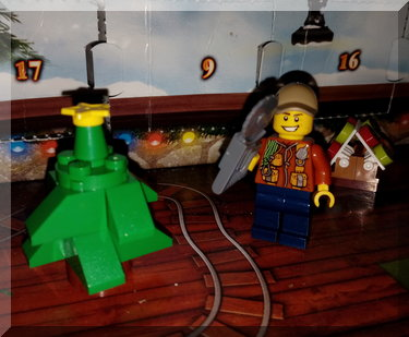 Lego man with a chainsaaw