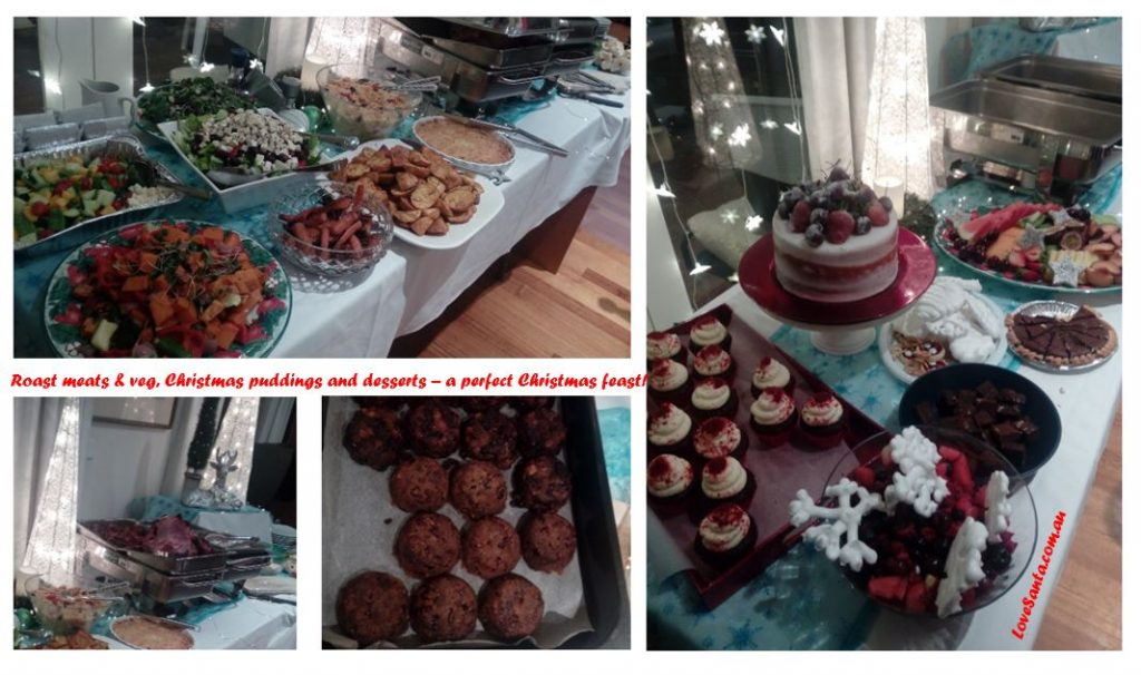 collage of Christmas food photos