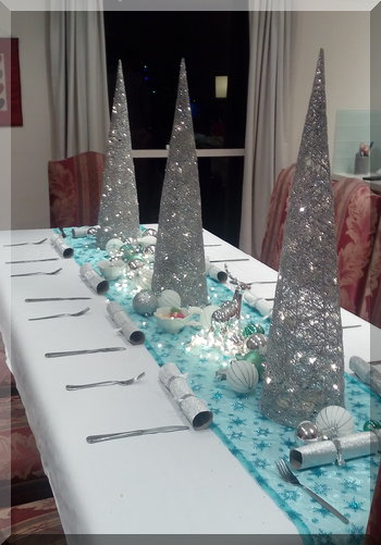 dining table set in a Turquoise Christmas theme