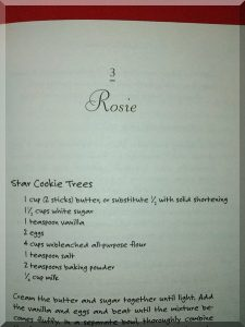 inside page of The Christmas Cookie Club, showing a recipe from Rosie