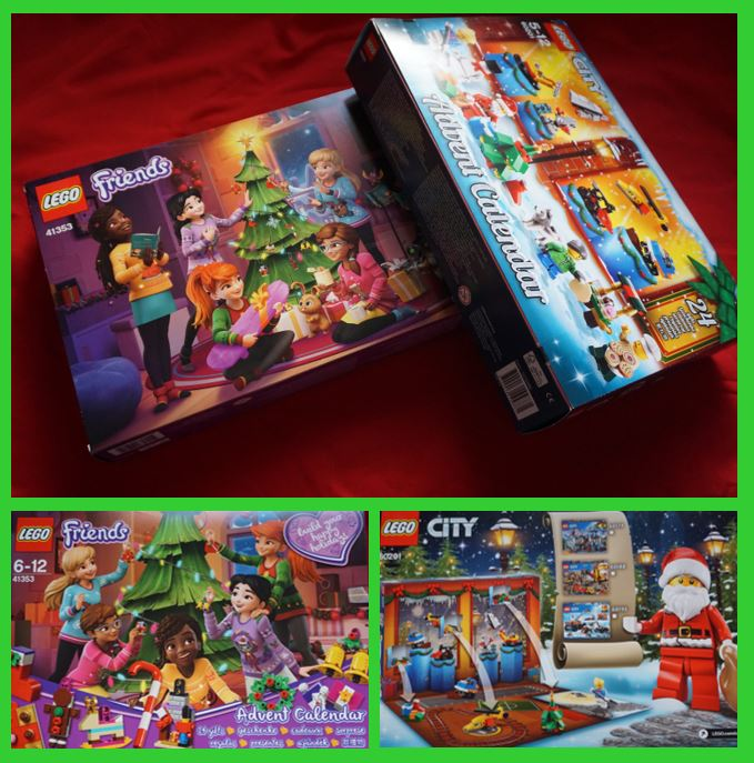 Images of the 2018 Lego City and Lego Friends advent calendar boxes