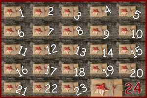 24 gifts in a grid, each numbered to form an advent calendar