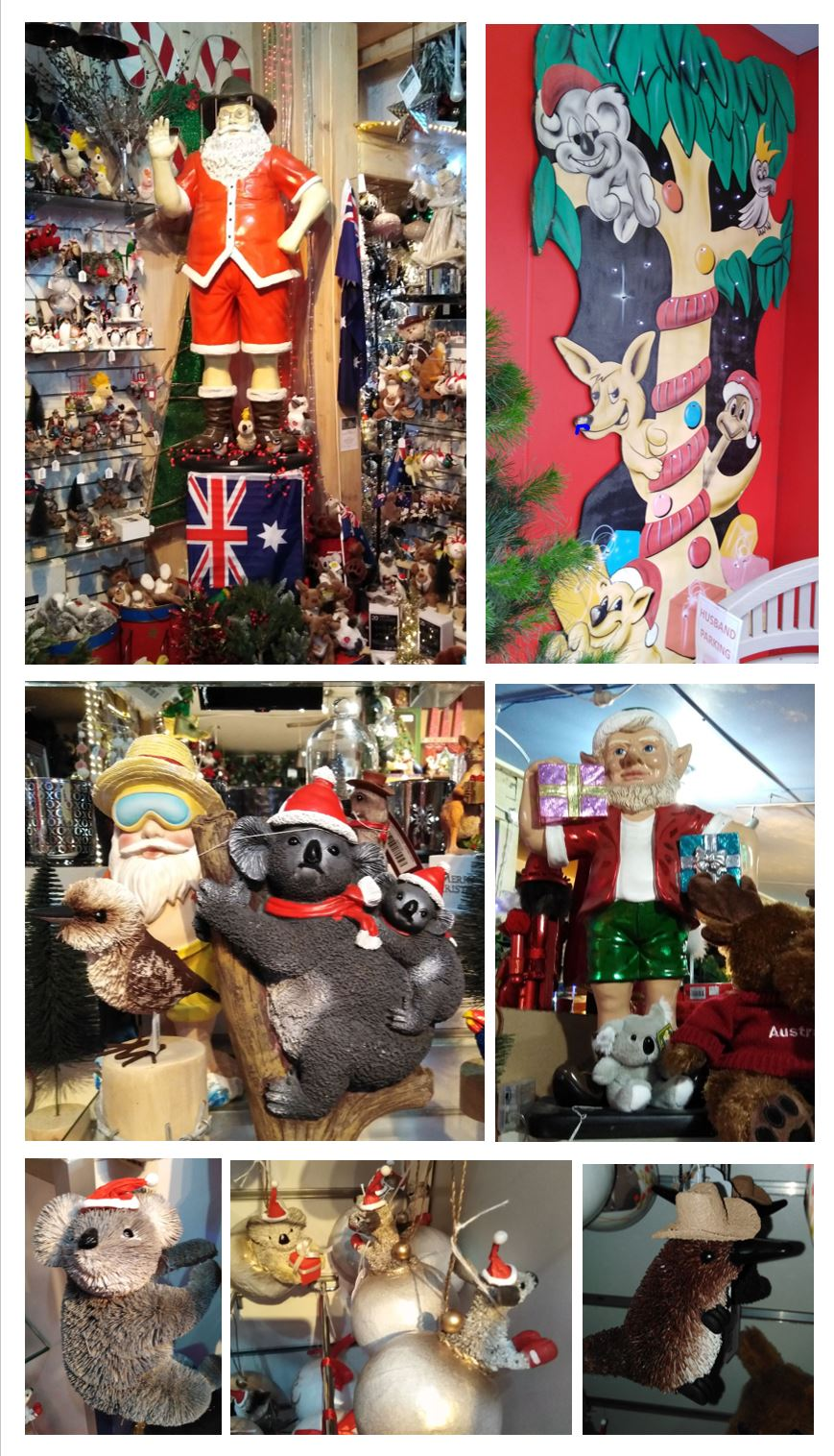 Collage of Aussie themed decorations at Santa's Place