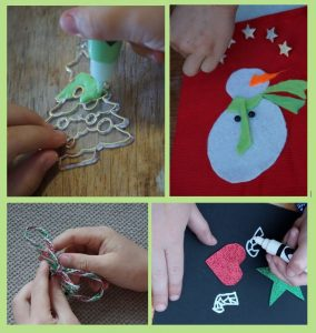 collage of children making Christmas crafts