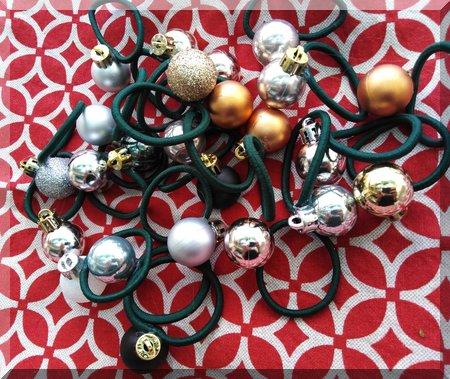 pile of Christmas bauble hair ties