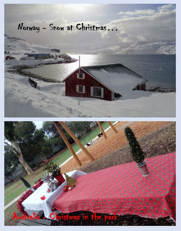 Two images - Norway covered in snow and a Christmas table in a sunny park