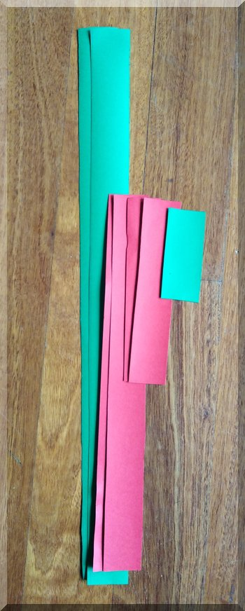 red and green cardboard strips