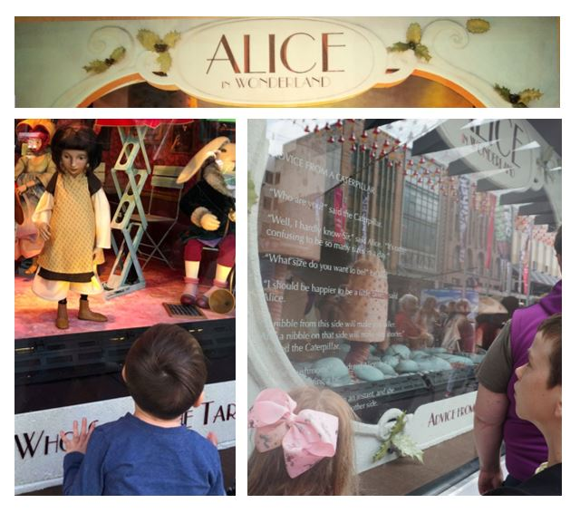 collage of children watching ALice in Wonderland at Myer 2018 windows