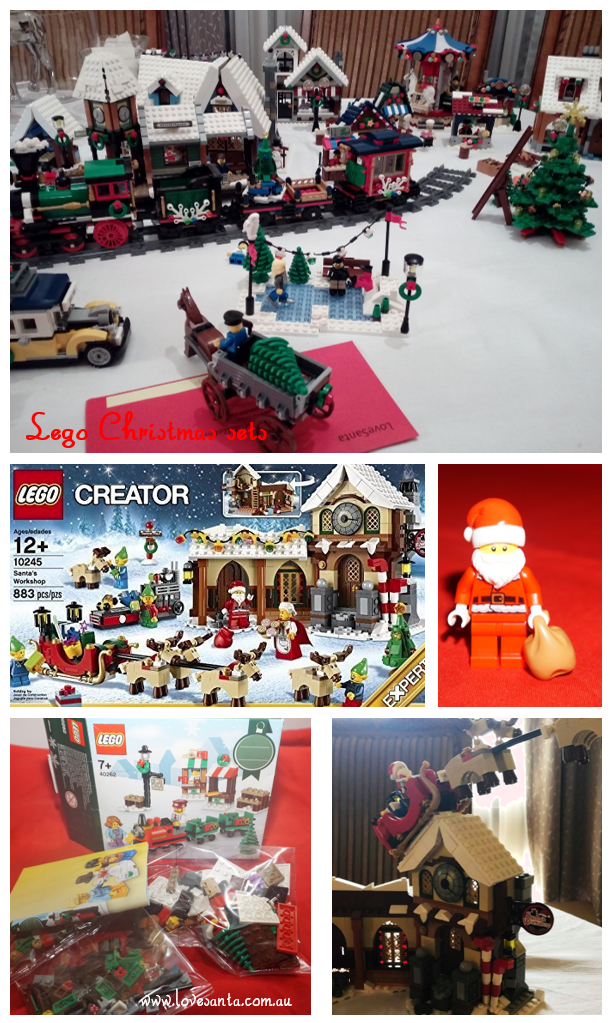 collage of Lego Christmas set images