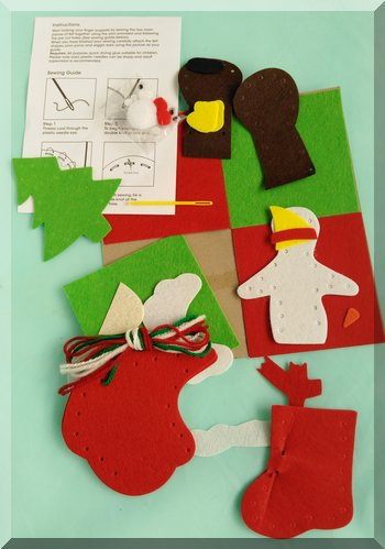 Christmas finger puppet kit contents laid out