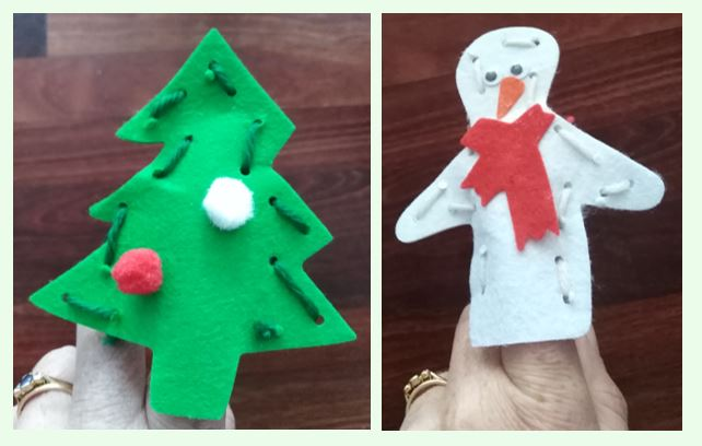 Christmas tree and snowman finger puppets