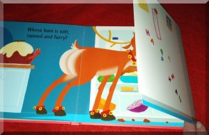 Inner page of whose bum at Christmas showing a reindeer