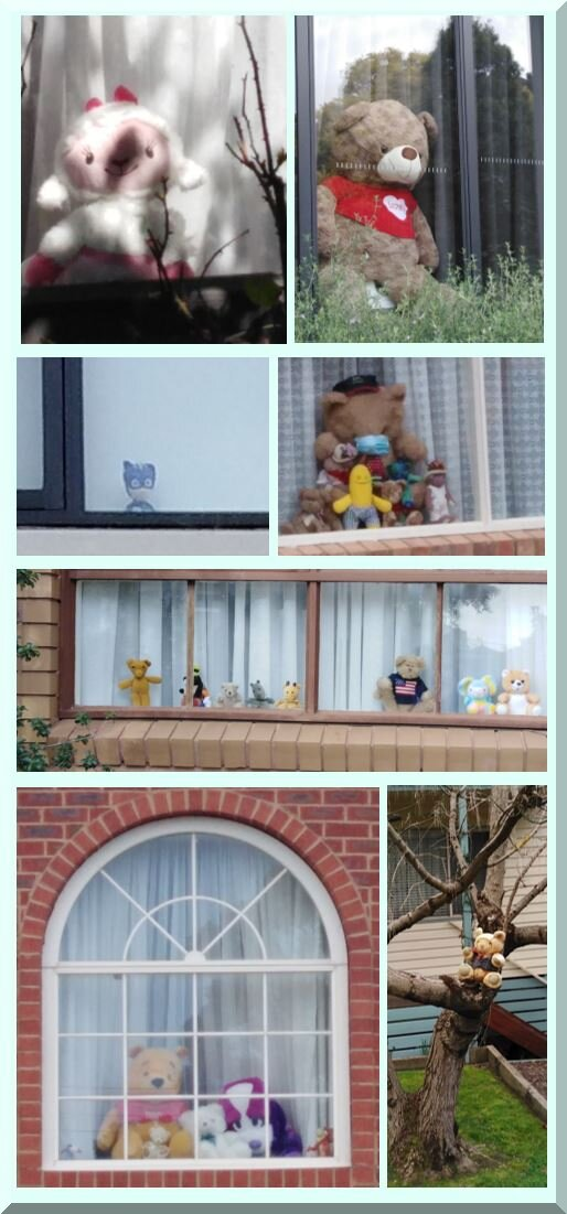 Collage of teddy bears in windows and trees