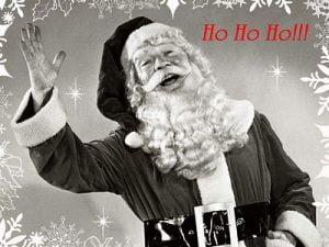 Santa laughing and waving