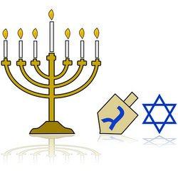 Hanukkah candles and star of David