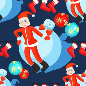 image of Santa, baubles and red stockings on a dark background