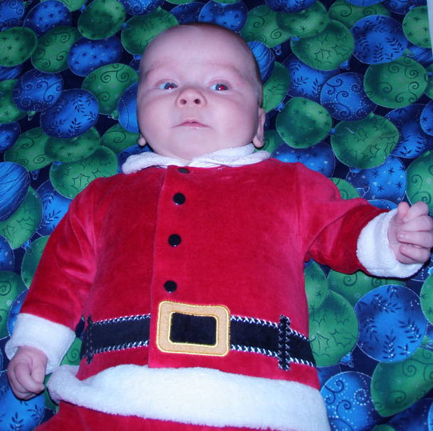 Baby in Santa suit for Christmas