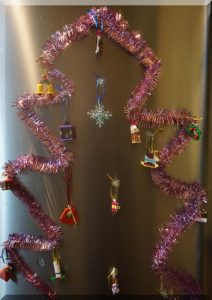 Lego ornaments on a flat Christmas tree!