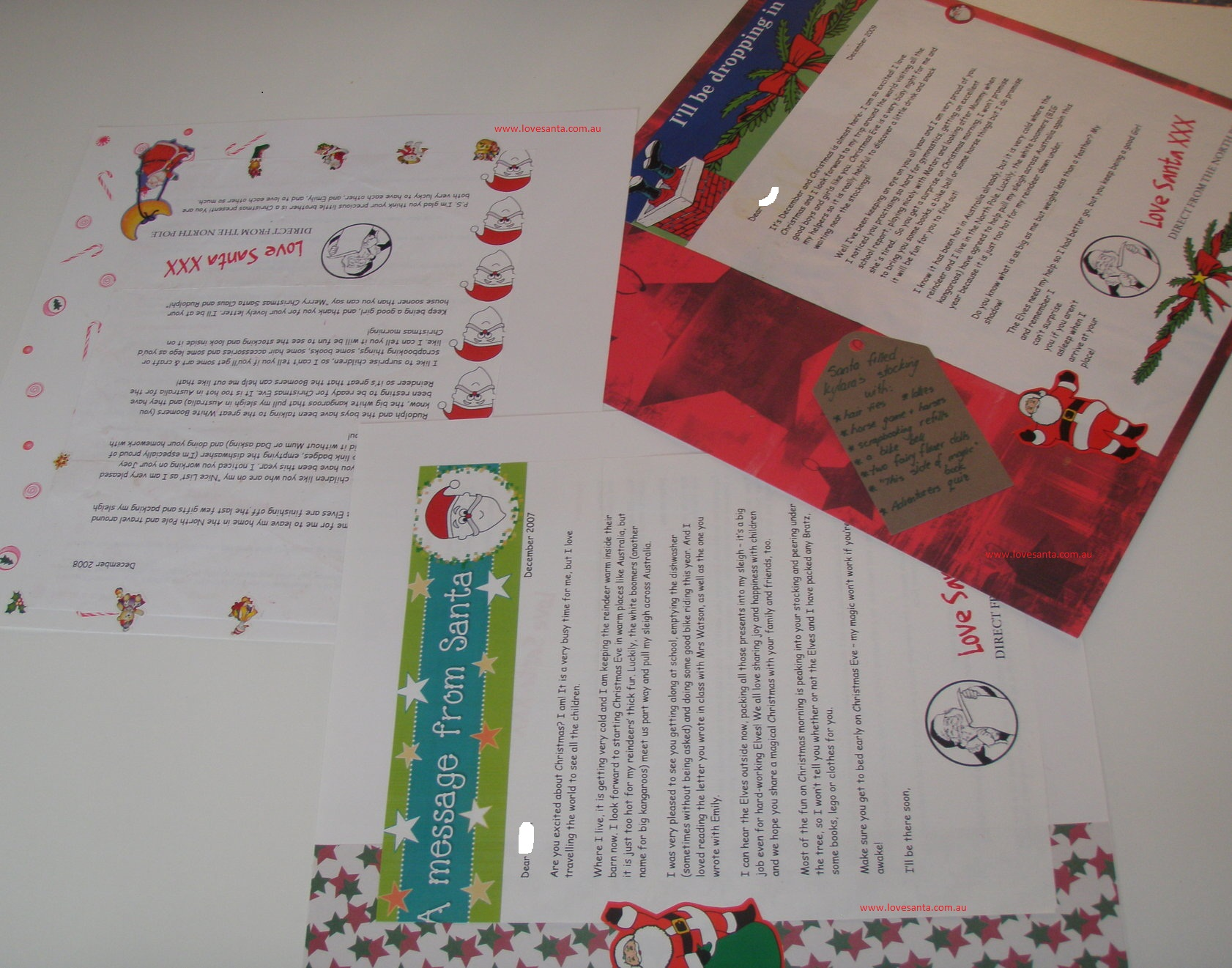 Scrapbook pages of Love Santa letters