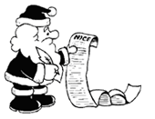Santa checking his list for who's naughty or nice