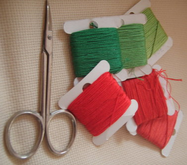 Threads and scissors ready for Christmas crafts
