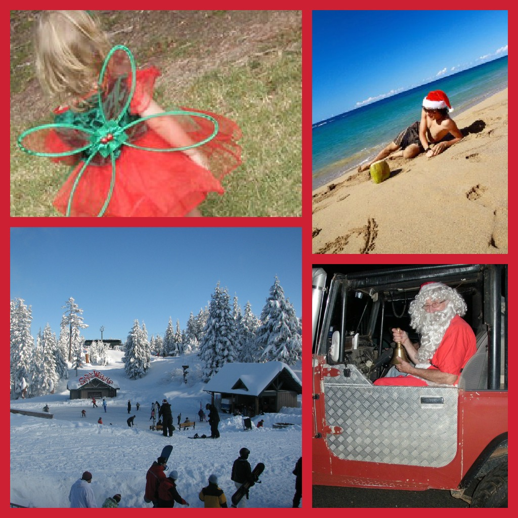 Christmas fairy in a park, santa aht on a beach, windter landscape and Santa in a red jeep