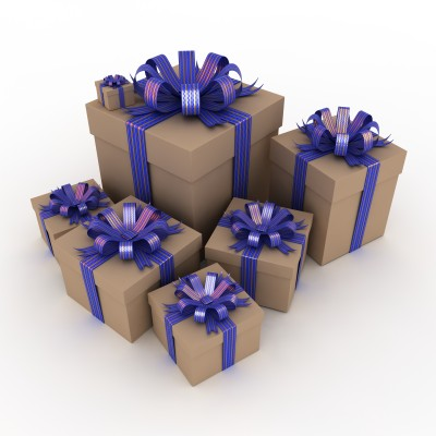 collection of brown boxes with purple gift ribbons