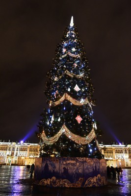 Beautiful Christmas tree and lights in St Petersburg