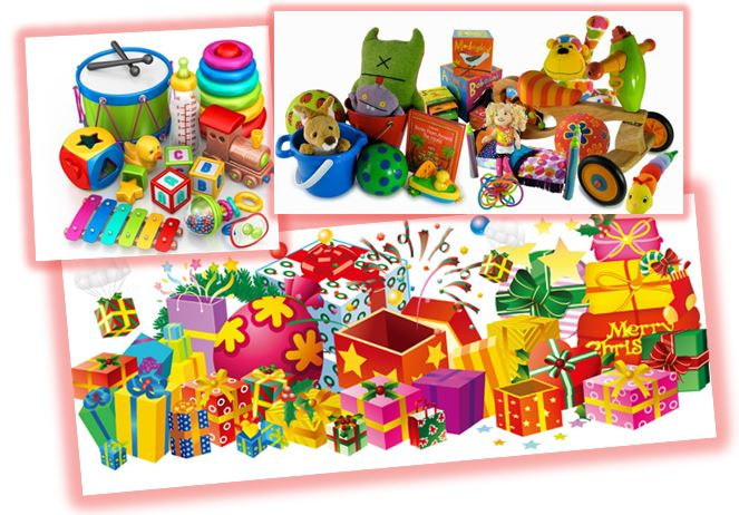 Piles of Christmas gifts and toys