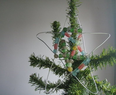Home made wire and bead Christmas Star