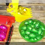 colour sorted easter eggs in construction toys