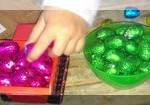 sorting colours of Easter eggs