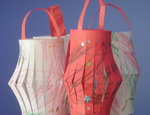 Four paper lanterns made by children
