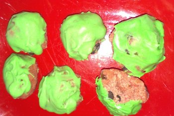 Christmas pudding balls on plate