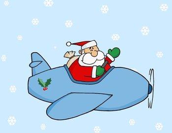 Santa in a blue Christmas plane