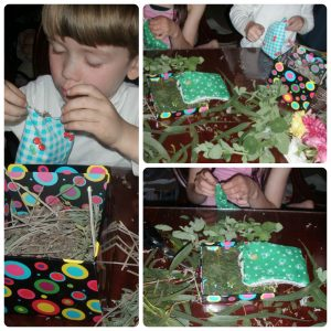 kids filling fabric bags with scented leaves