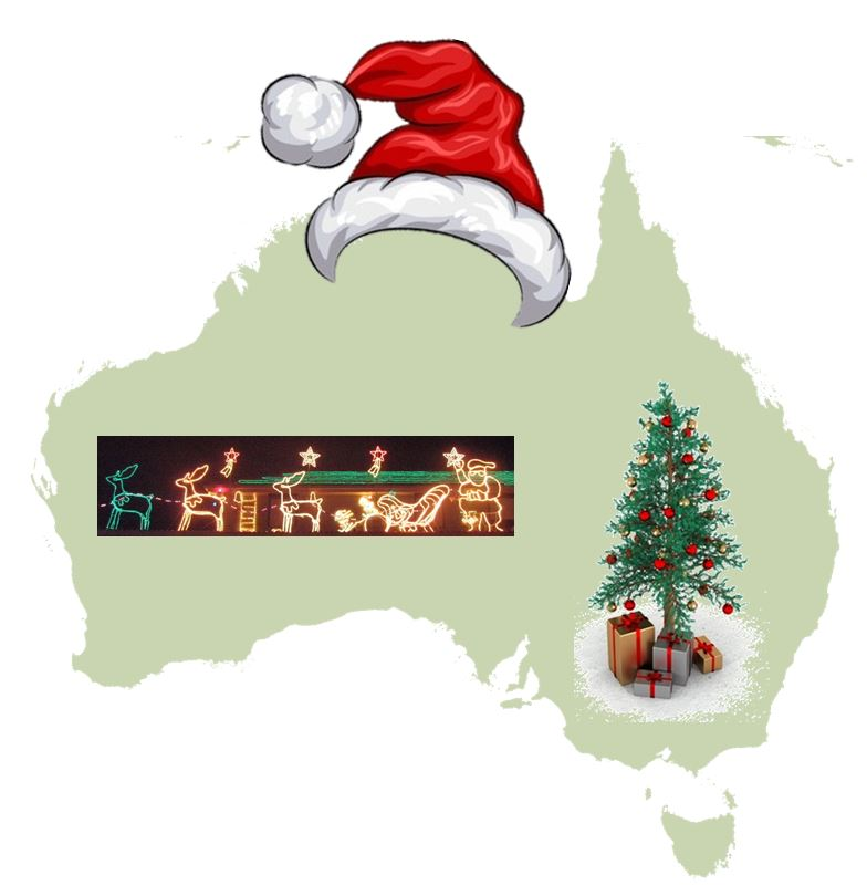 Map of Australia covered in Christmas icons