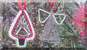 Christmas ornaments hanging in tree