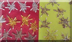 Glittery cotton bud stars