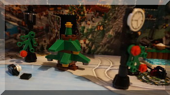 Lego town clock, christmas tree and lamppost