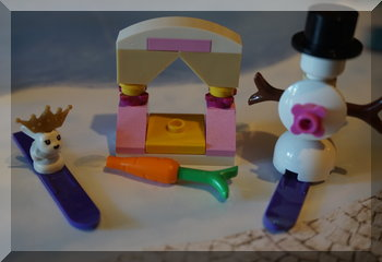 Lego bunny and snowman on skis