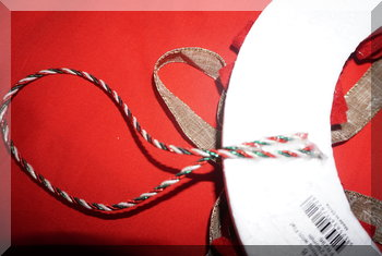 View of the back of the wreath where handing loop is attached