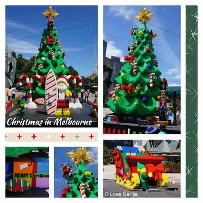 Collage of photos of Lego Christmas display - tree, sleigh, star, Santa