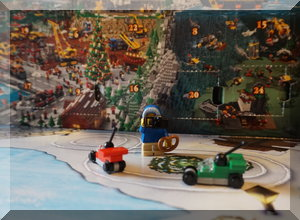 Lego peices from two days of the advent calendar