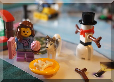 Lego city girl, dog and snowman