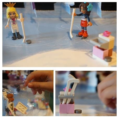 Collage of images of Lego ice-hockey from advent calendar