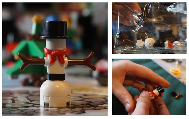Collage of the Lego city advent calendar snowman